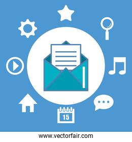 email envelope and icons multimedia digital