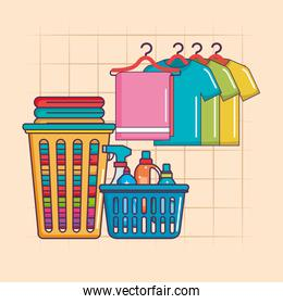 laundry hanger clothes and basket detergents