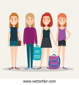 group of full height girls students with bags casual clothes