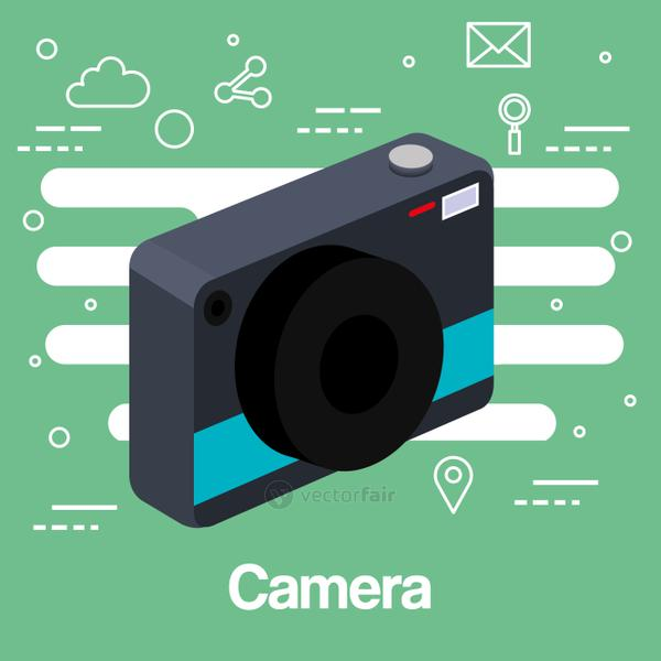 photo camera picture lens flash device technology green background