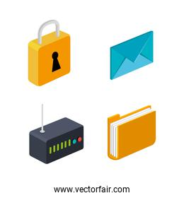 router folder email security connection technology collection