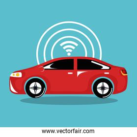 remote sensing system of smart red car vehicle front view