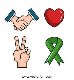 symbols peace for international peace day icons