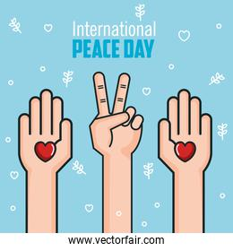 international peace day hands love heart victory gesturing