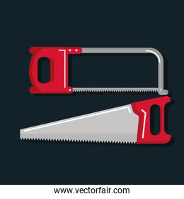 set of carpentry tools for sawing wood products