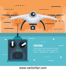 drone with remote control technology icon