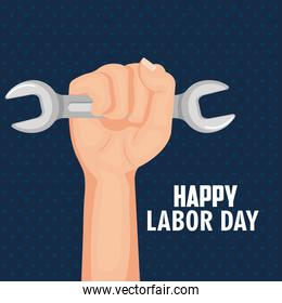 happy labor day hand holding spanner tool