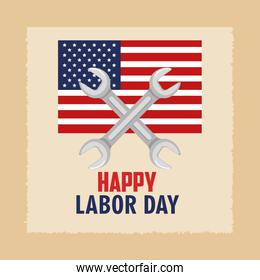 happy labor day flag united states and spanner concept