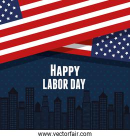 happy labor day united states flag with city background