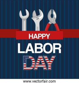 happy labor day tools work spanner and pliers ribbon