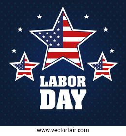 labor day stars with united states flag blue background