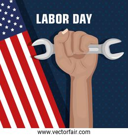 labor day hand fist raised and tool concept