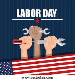 labor day hands with fists raised tools american flag