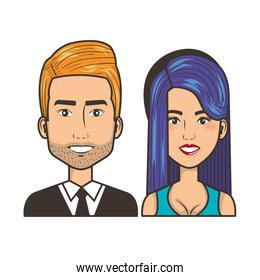 young couple avatars characters portrait people