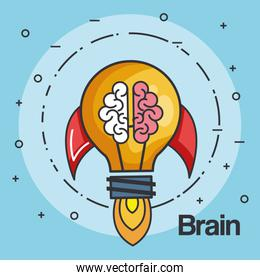 rocket light bulb shape and brain business start up concept