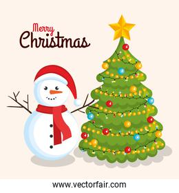 merry christmas cheerful snowman with pine tree decoration