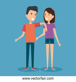 young happy couple gesturing smile on blue background