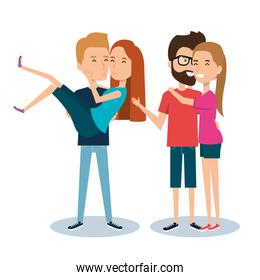 two couples of young people together cartoon style