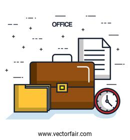 office briefcase folder paper clock objects icon