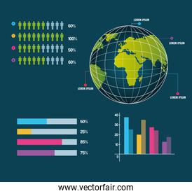 world infographic globe information business report work