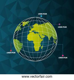 world infographic globe pointer differents country