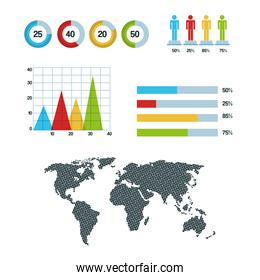 world map infographic pie chart graph