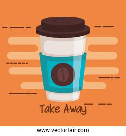take away portable paper coffee cup on orange background