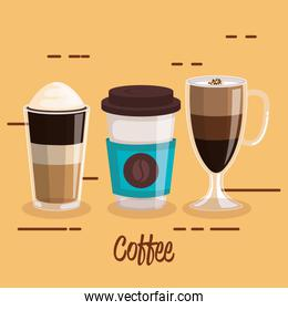 coffee cups set differents type beverage
