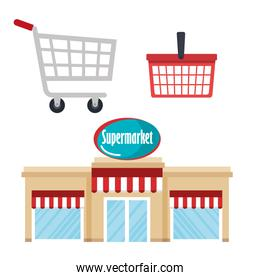 supermarket building with basket and cart shopping