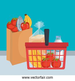 shopping basket with supermarket products