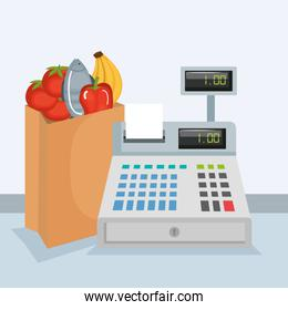 supermarket cash register with products