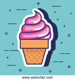 delicious ice cream pop art style