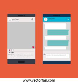 smartphones set with template