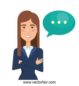 businesswoman with speech bubble