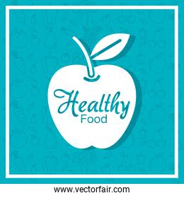 apple fruit cartel with healthy food pattern