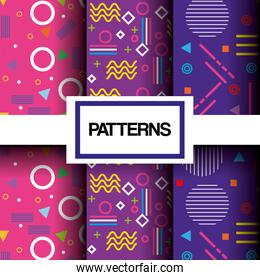 lines figures and colors patterns set