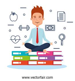 business people meditation lifestyle with business elements
