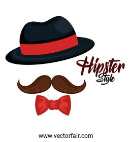 hipster style mustache and hat