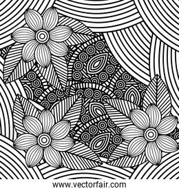 adult coloring monochrome flowers drawing