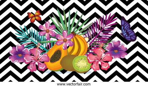 tropical flower and fruits with abstract background desktop computer isolated icon