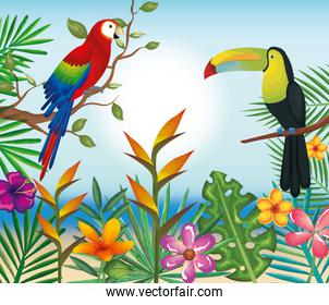 tropical and exotics flowers with toucan and parrot