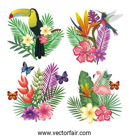 tropical and exotic bird with floral decoration