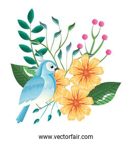 floral decoration and bird vintage style