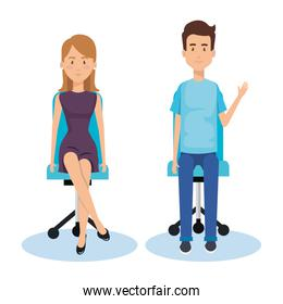 business person posing on office chair
