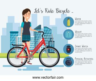 woman in bicycle with healthy lifestyle icons