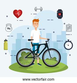 man in bicycle with healthy lifestyle icons