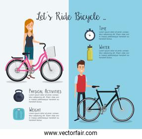 people in bicycle with healthy lifestyle icons