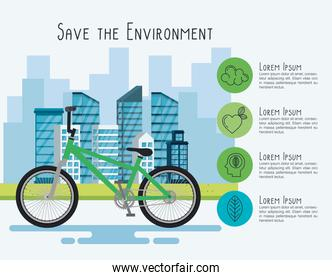 bicycle vehicle with eco friendly icons