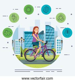 woman in bicycle with eco friendly icons