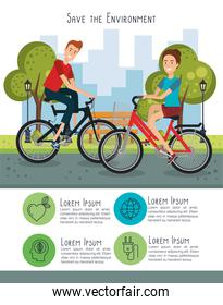 couple in bicycle with eco friendly icons